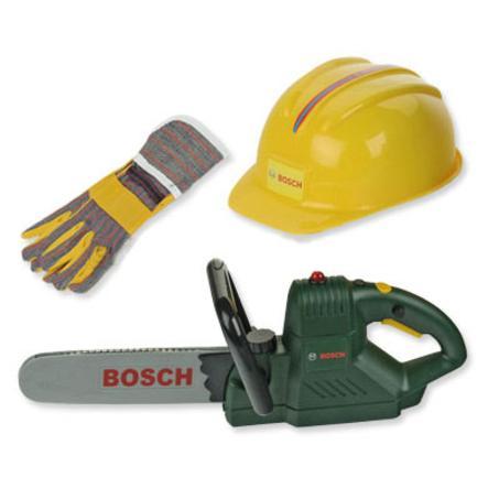 Theo klein BOSCH mini Kettensäge mit Helm und Handschuhen 8435