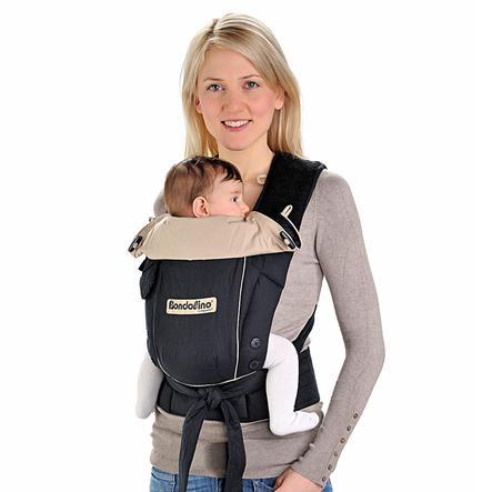 HOPPEDIZ Babytrage Bondolino Slim fit Leichte Qualität schwarz-sand