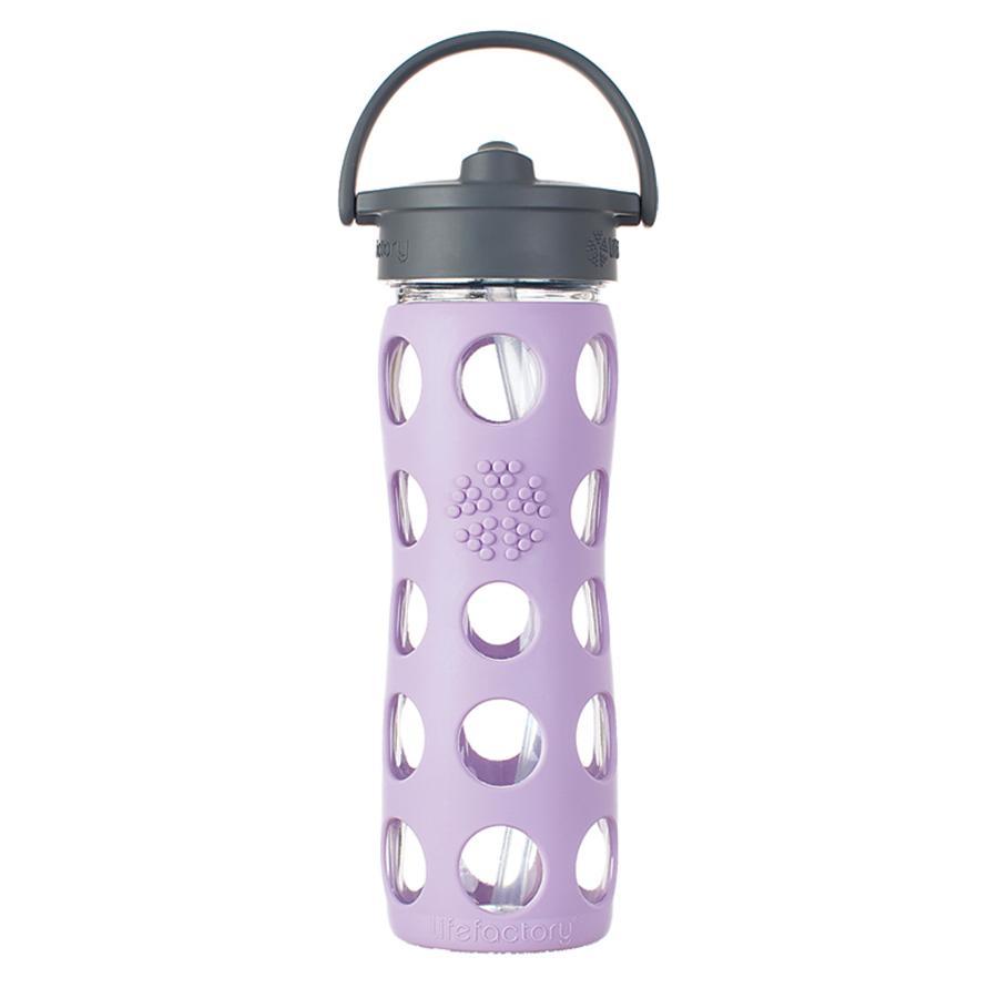 LIFEFACTORY Skleněná láhev s brčkem 470 ml fialová