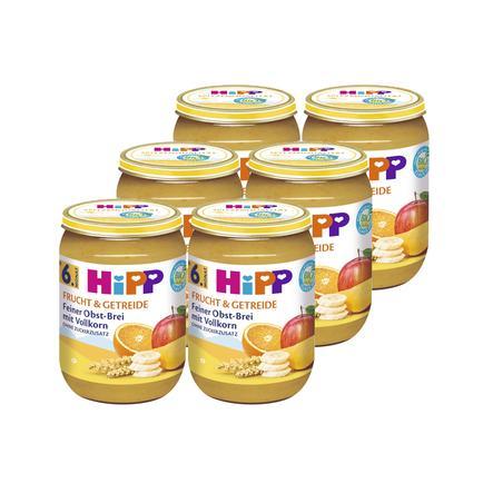 HIPP Bio Frucht & Getreide Feiner Obst-Brei mit Vollkorn 6x190g