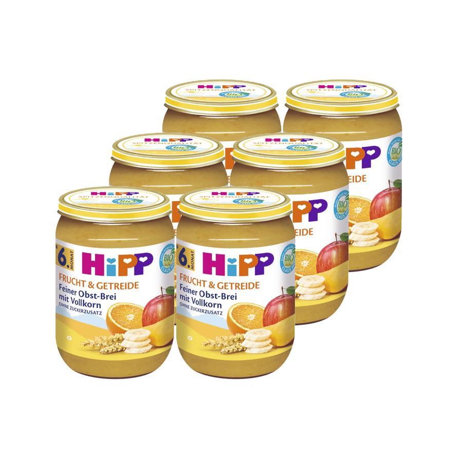 HiPP Bio Frucht & Getreide Feiner Obst-Brei mit Vollkorn 6 x 190 g