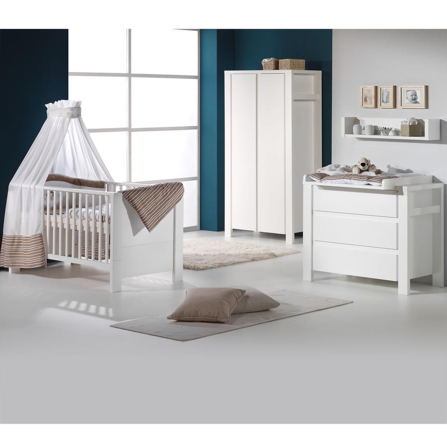 SCHARDT Set Cameretta neonato Milano con Lettino, Fasciatoio e Armadio, bianco