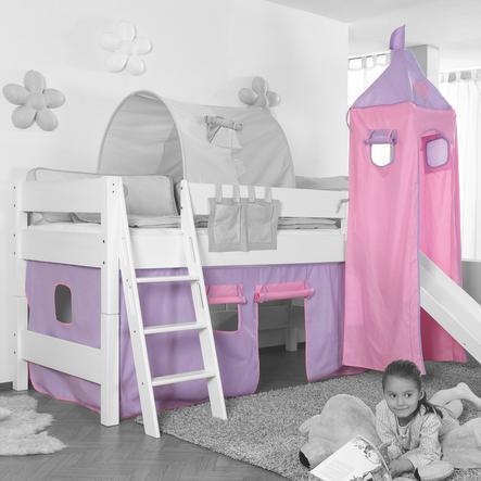 Relita Stoffset für Hochbetten mit Turm purple / rosa-Herz