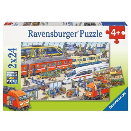 RAVENSBURGER Puzzle - Trubel am Bahnhof 2x24 Teile 09191
