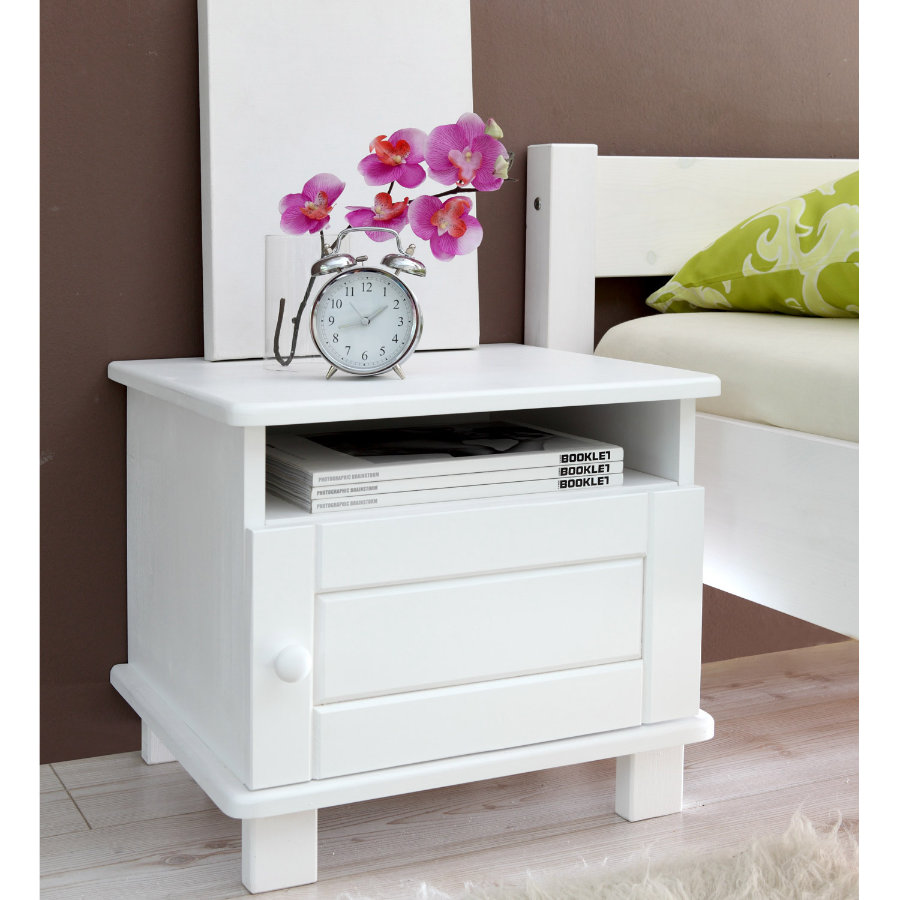 TICAA Table de chevet BORA pin blanc