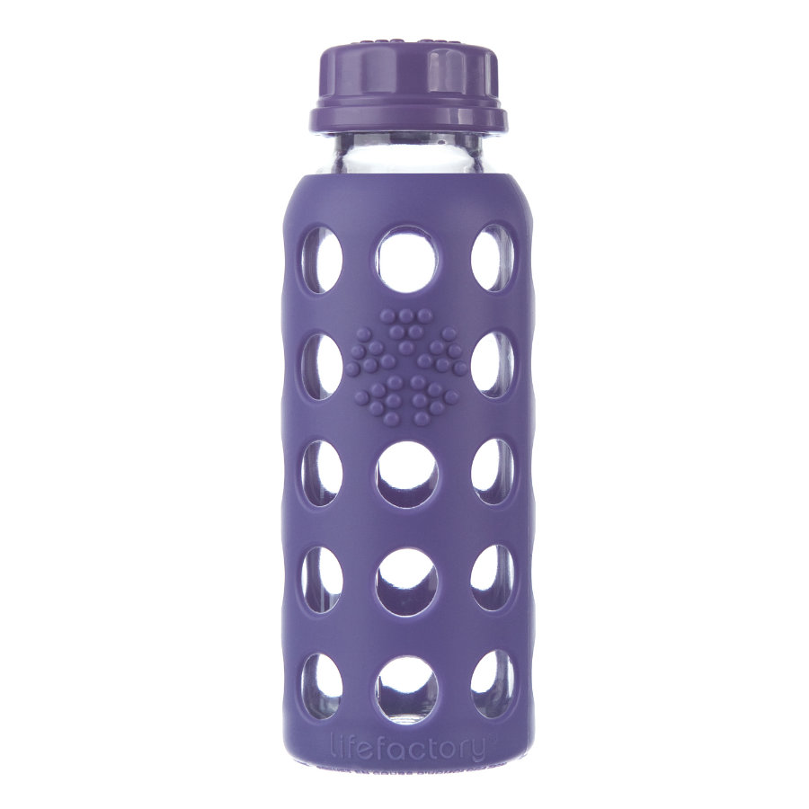lifefactory Glas-Trinkflasche royal purple 250 ml
