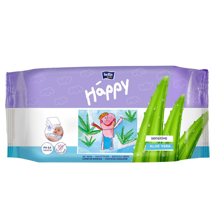 BELLA Happy vlhké utěrky Sensitive 56 kusů
