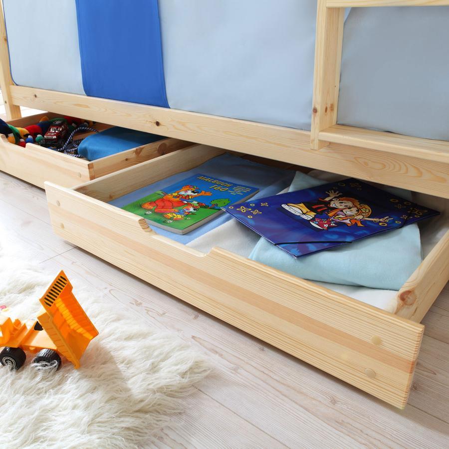 TiCAA Tiroirs de lit pour lit superposé enfant naturel