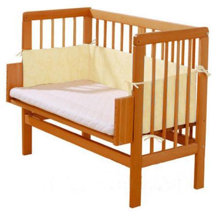 ALVI Cuna colecho de haya maciza con colchón y protector, uni beige