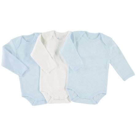 pink or blue Boys Baby Body 1/1 Arm 3er Pack blau, weiß