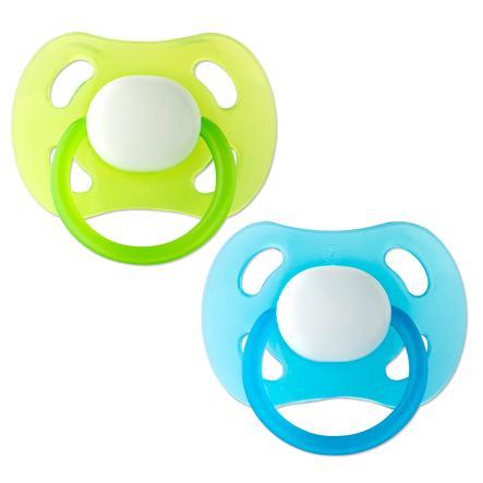 ROTHO Succhietto calmante in silicone blu/verde Confezione da 2 pezzi