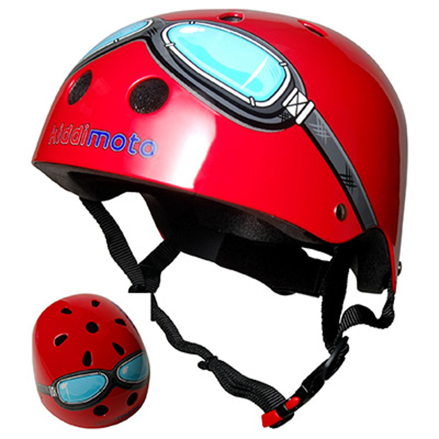 kiddimoto® Casque de vélo enfant Design Sport, Pilote, rouge, T. S, 48-53 cm