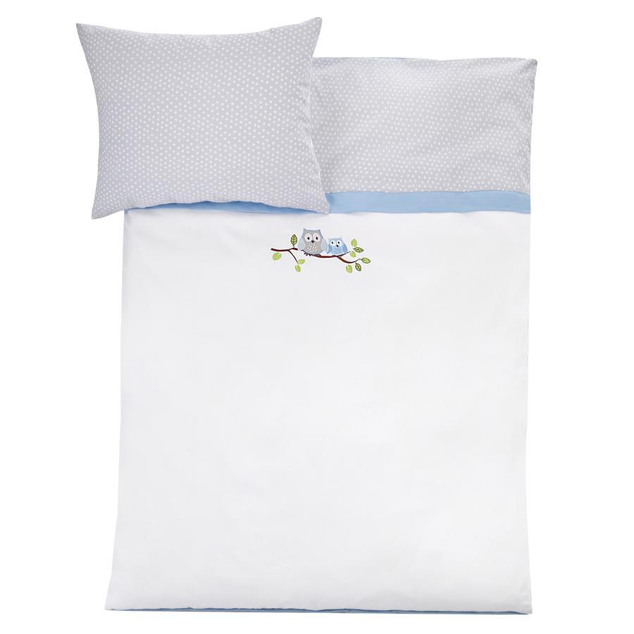 JULIUS ZÖLLNER Bettwäsche 100 x 135 cm kleine Eulen blau