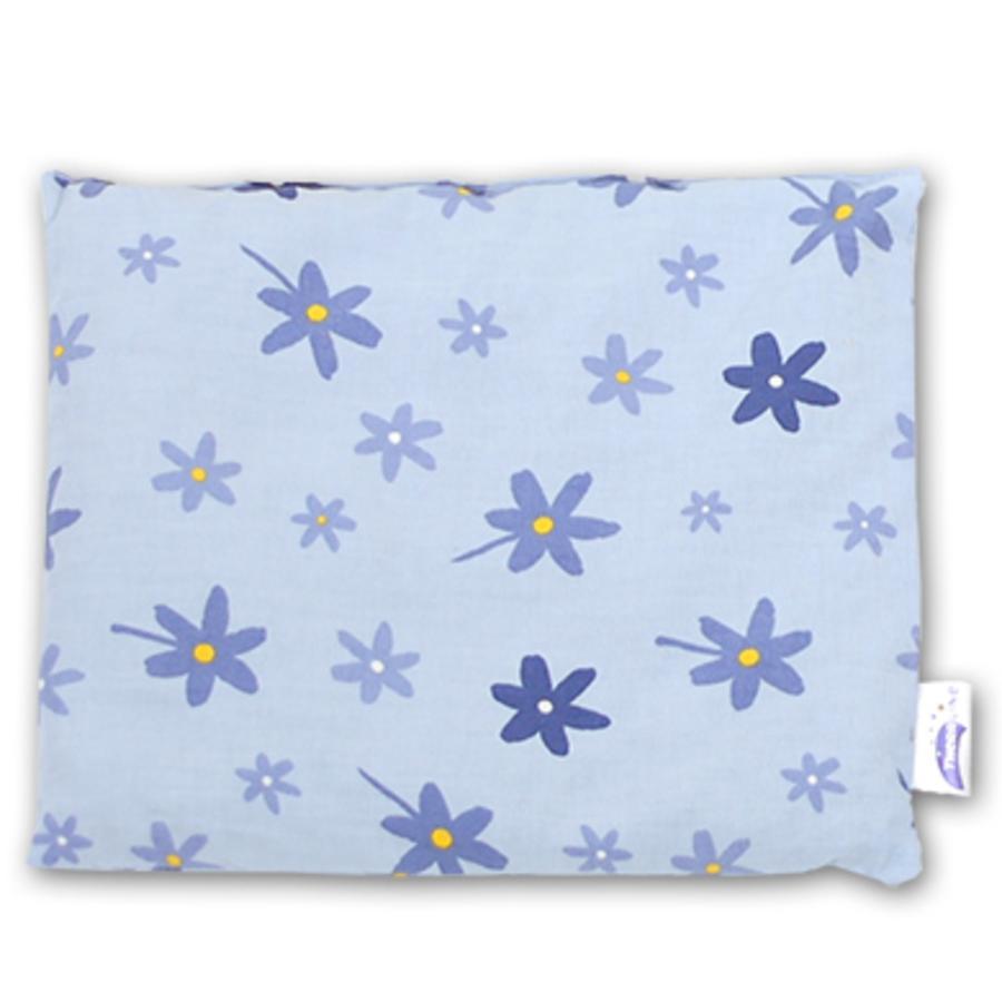 THERALINE polštář plněný třešňovými peckami  19x19 cm květiny modré (40)