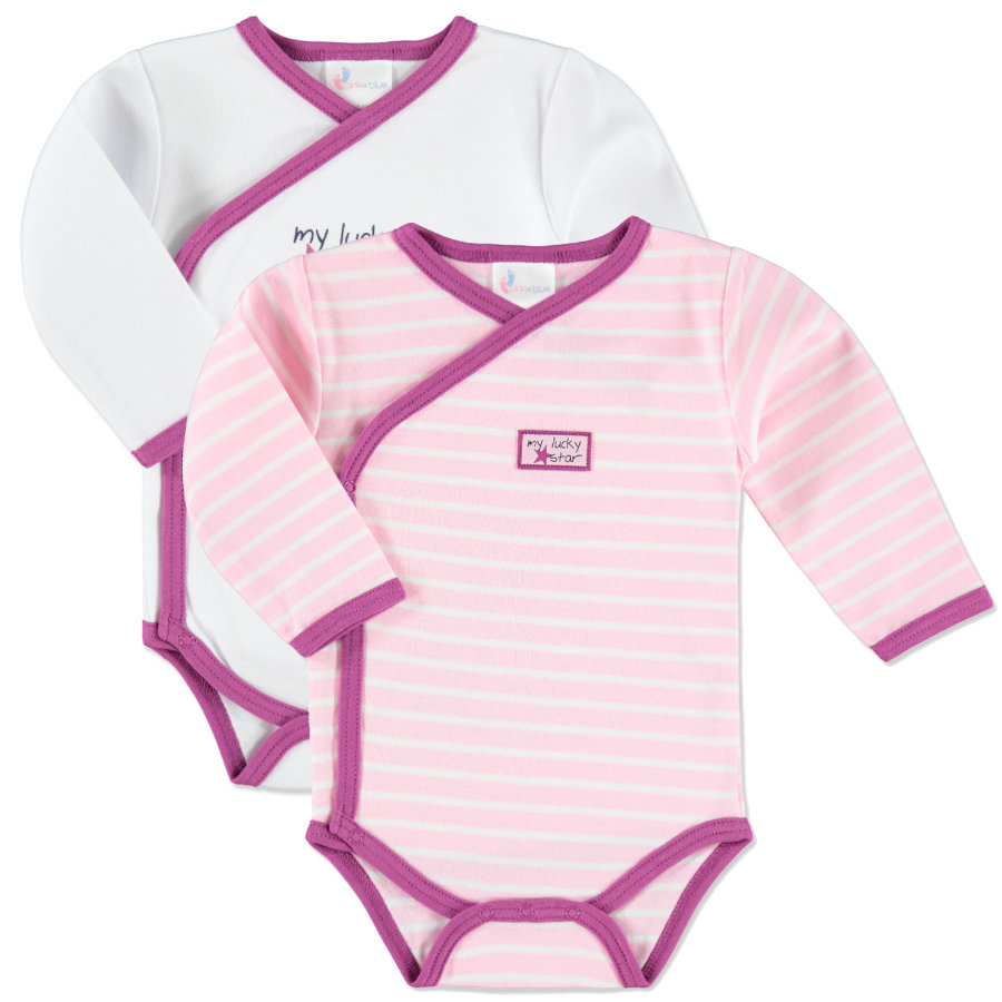 pink or blue Girls Ringel Wickelbody My lucky Star 2er Pack gestreift rosa, weiß
