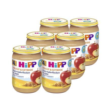 HIPP Bio Frucht & Getreide Zarte Haferflocken in Apfel 6x190g