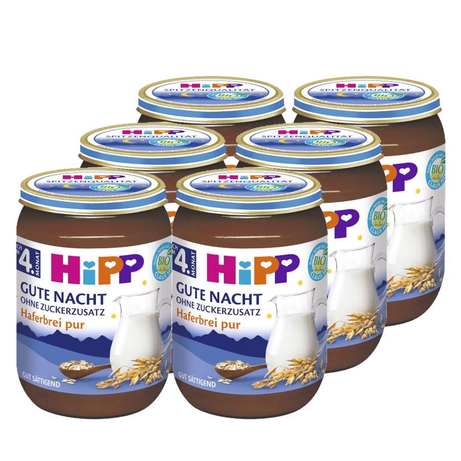 HiPP Bio Gute-Nacht- Haferbrei pur 6 x 190 g