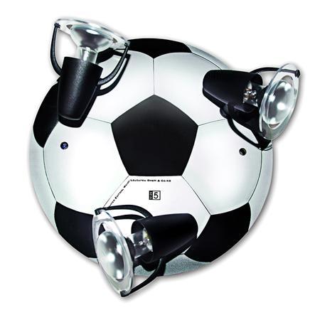 WALDI Plafonnier Ballon de foot noir/blanc 3 ampoules