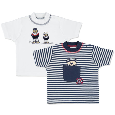 pink or blue Boys Lot de 2 t-shirts maritimes Ours matelot, bleu/blanc