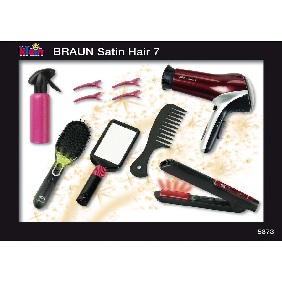 Theo klein Braun Megafrisierset mit Satin Hair 7 Haarbürste, Haartrockner und Haarglätter 5873