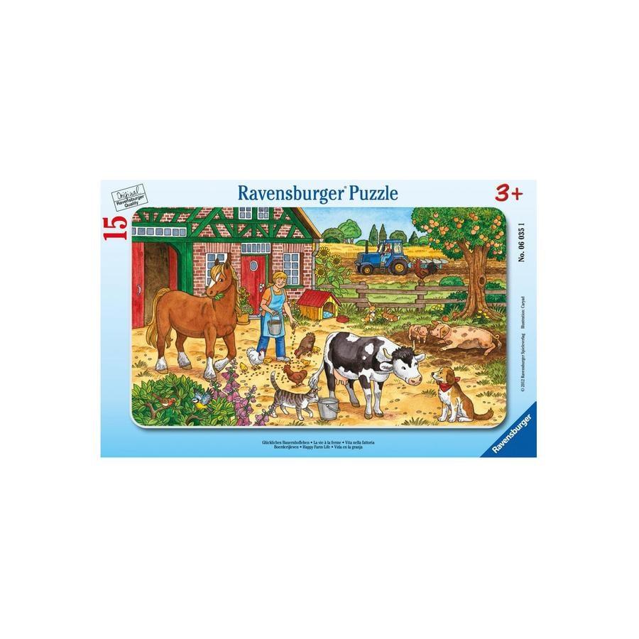 RAVENSBURGER Rahmenpuzzle Glückliches Bauernhofleben 15 Teile 06035
