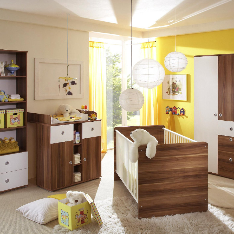 ticaa babyzimmer milu walnuss wei 4 teilig. Black Bedroom Furniture Sets. Home Design Ideas