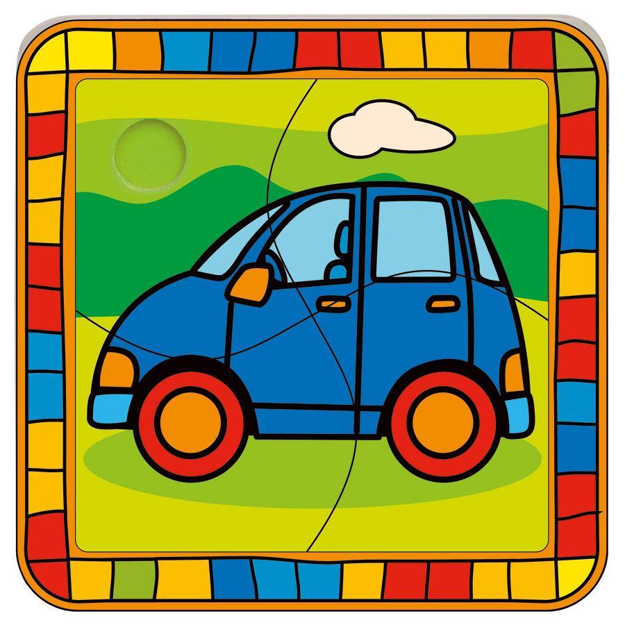 BINO Puzzel 4-delig Auto