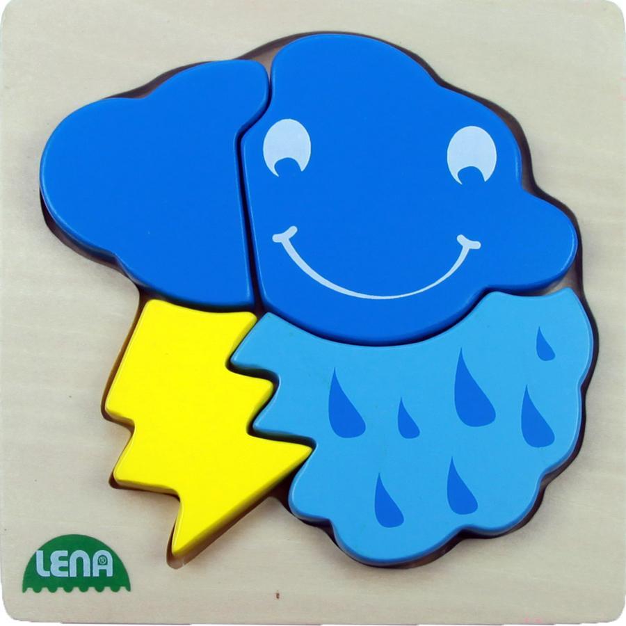 LENA Dřevěné puzzle, mrak, 4 díly