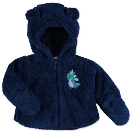 pink or blue Boys Plush Jacket with Hood Dragon dark blue