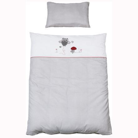 ROBA Parure de lit Adam et Chouette, 2 pièces,  gris/blanc, 80 x 80 cm