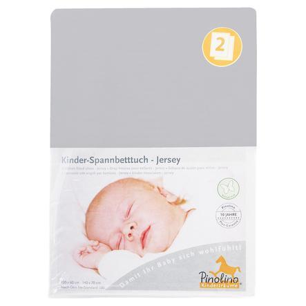 Pinolino Spannbetttuch Jersey Doppelpack - grau