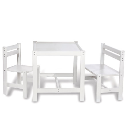PINOLINO Table, Bench and Chair Timo white, 3 pcs.