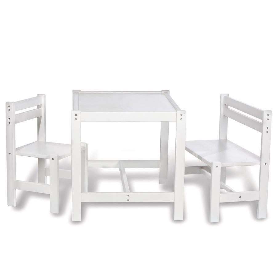 PINOLINO Tavolo con Sedie Timo 3 pezzi bianco