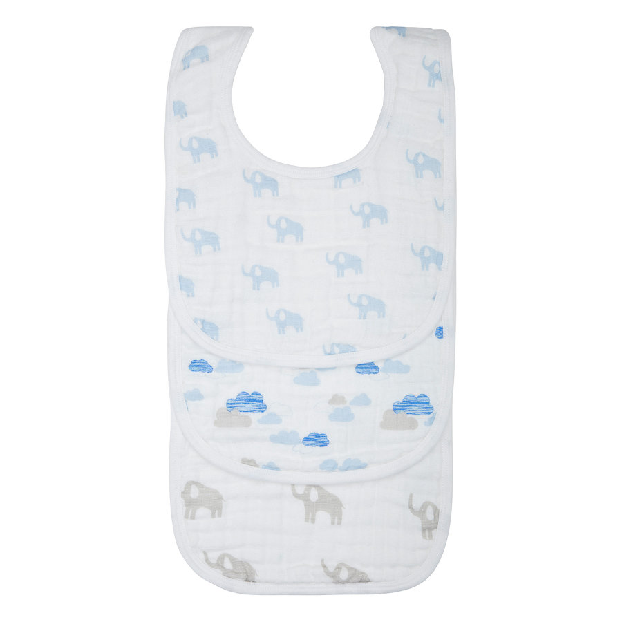 LÄSSIG Bavaglini Bib Elephant & Clouds boys Set da 3