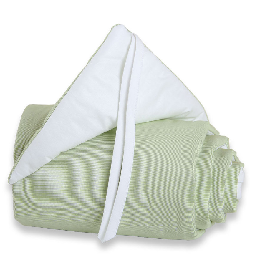 TOBI BABYBAY Spjälsängsskydd Original grön/vit
