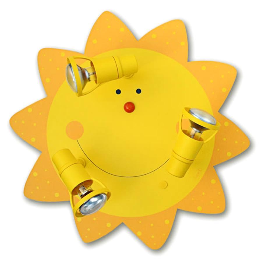 WALDI Plafonnier enfant soleil, jaune 3 ampoules