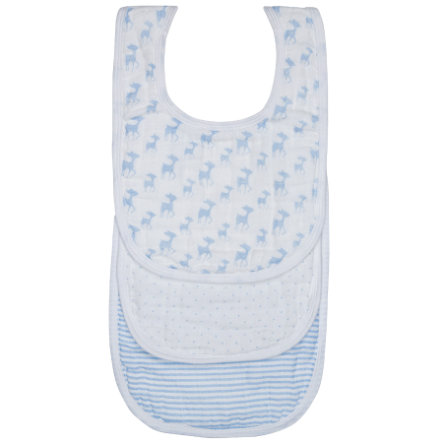 LÄSSIG Mull-Lätzchen 3-er Set Lela light blue