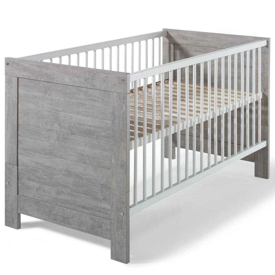 SCHARDT Lit bébé évolutif Nordic Driftwood, 70 x 140 cm, blanc/gris