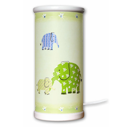 WALDI Lampe de chevet DG Green Elephants, 1 bougie LED, 1 ampoule