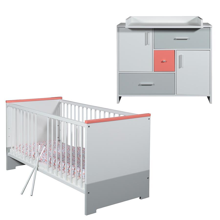 SCHARDT Candy Red Kit chambre enfant avec lit kit de transformation commode  et plateau