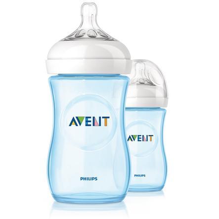 2 lahvičky AVENT Natural 260 ml - modré