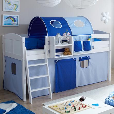 TICAA Patrová postel Eric borovice bílá Country světlo modro/tmavě modrá