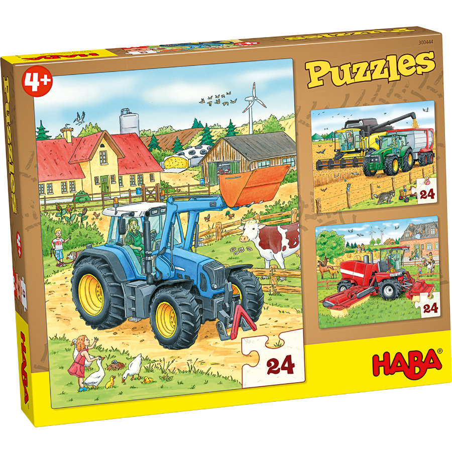 HABA Puzzels 3 x 24 delen - Tractor & co. 300444