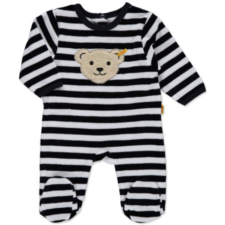 STEIFF Baby Velour Rompers Stripes navy