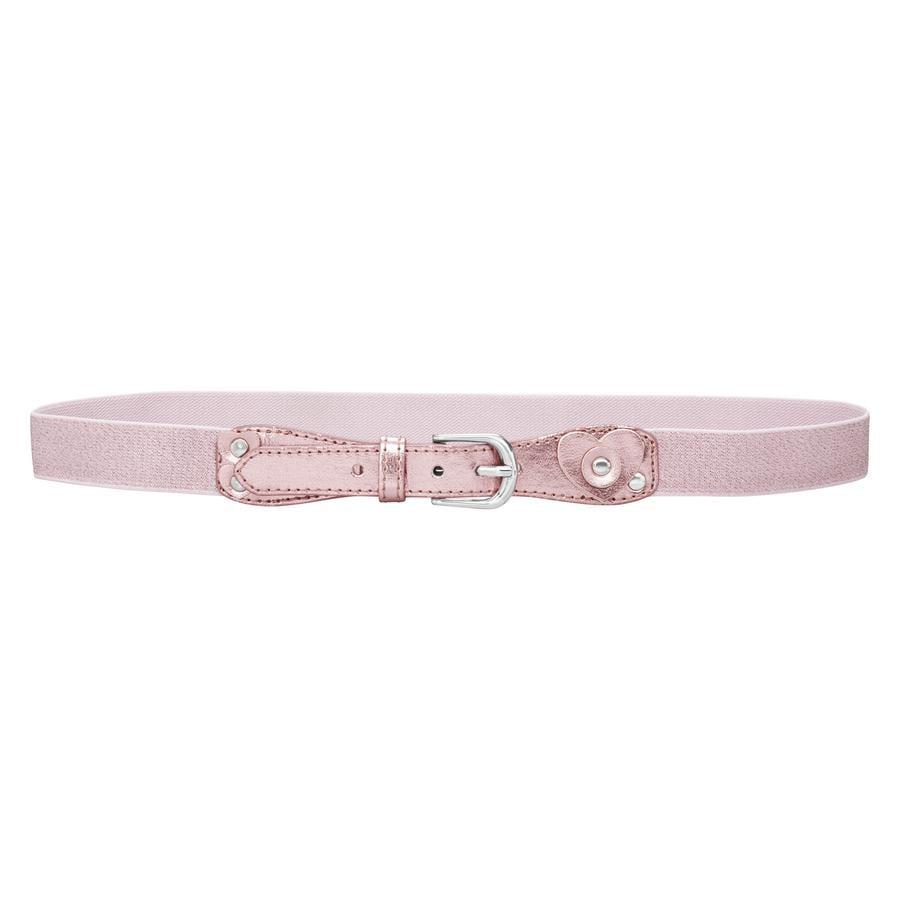 PLAYSHOES Läder elastiskt  bälte glitter rosa