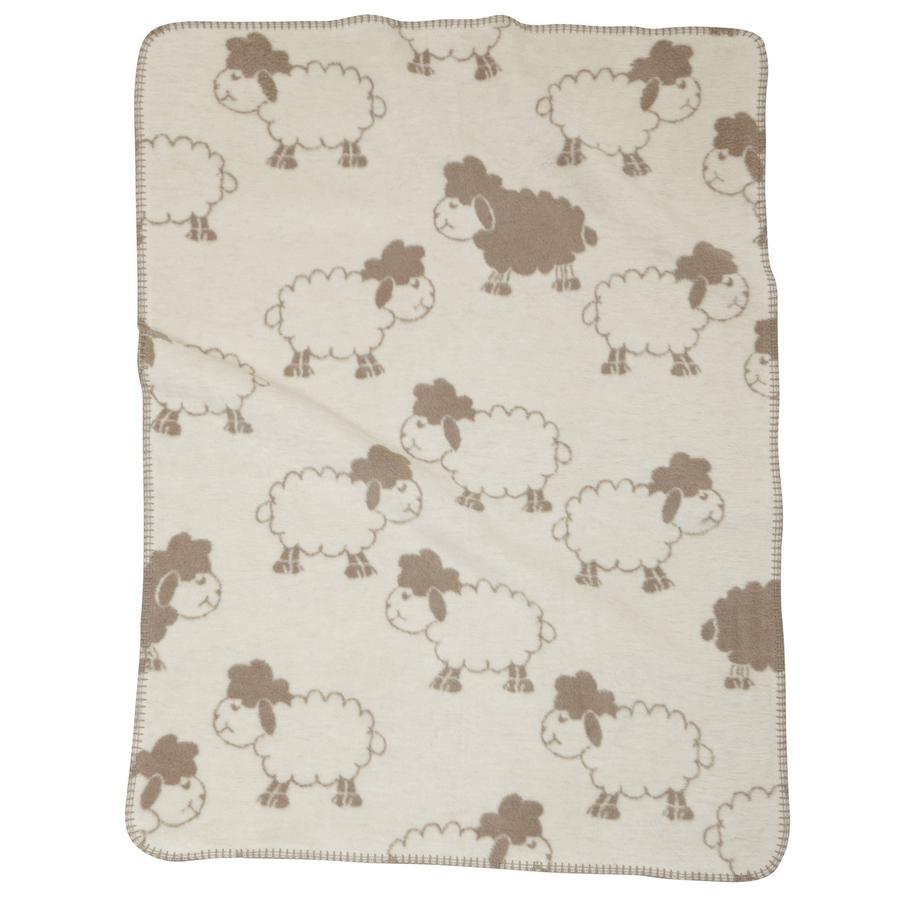 ALVI Couverture coton pour bébé à bordure surpiquée Mouton