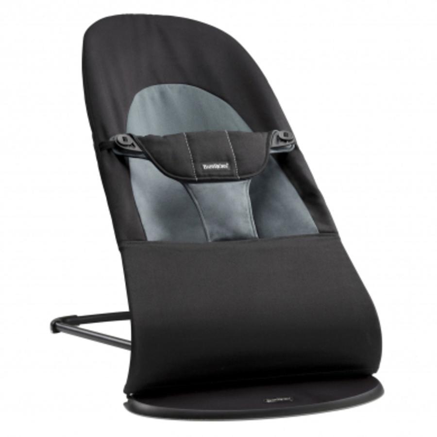 BABYBJÖRN Babywippe Balance Soft Cotton Schwarz/Dunkelgrau inklusive Holzspielzeug fröhliche Augen