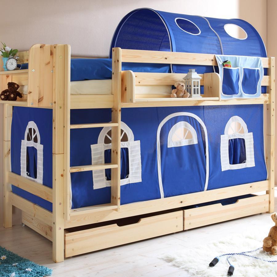 TICAA dvojlůžková patrová postel natur - dům modrý,bílý