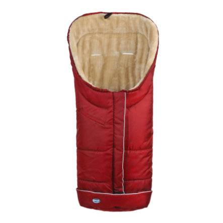 URRA Footmuff Deluxe with Fur large red/beige