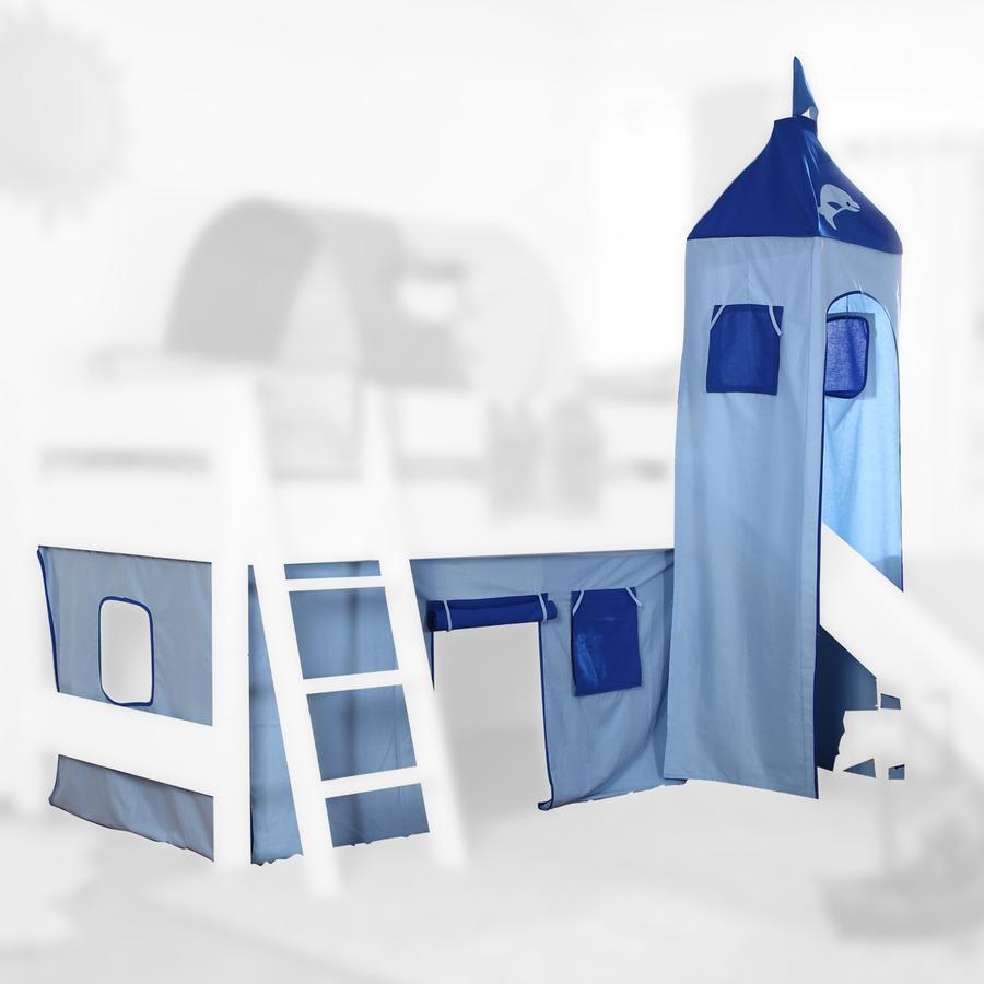 Relita Stoffset für Hochbetten mit Turm blau-Delphin